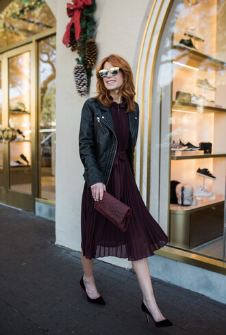 themiddlepage blogger dress shoes jacket bag sunglasses clutch black leather jacket pleated dress burgundy dress pumps