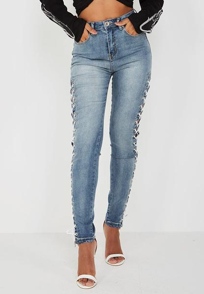 Lace-Up Side High-Waisted Jeans - Blue Denim