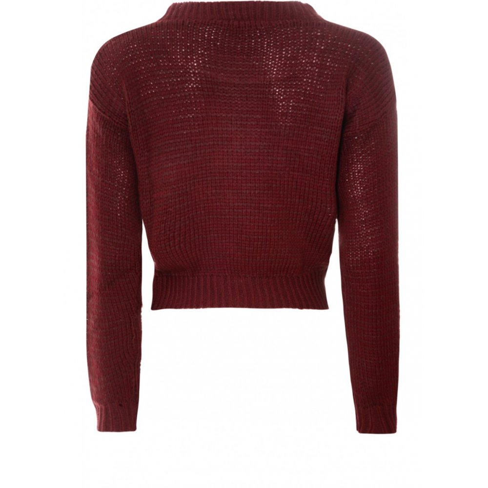 Buy Glamorous Cropped Knitted Jumper Burgundy