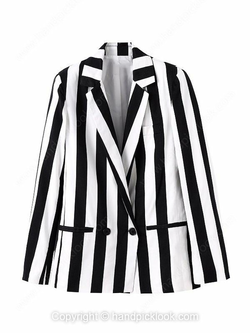 Black and White Notch Lapel Long Sleeve Striped Blazer - HandpickLook.com