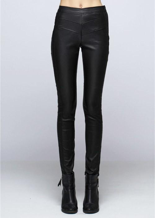Black high rise faux leather leggings on bogatte