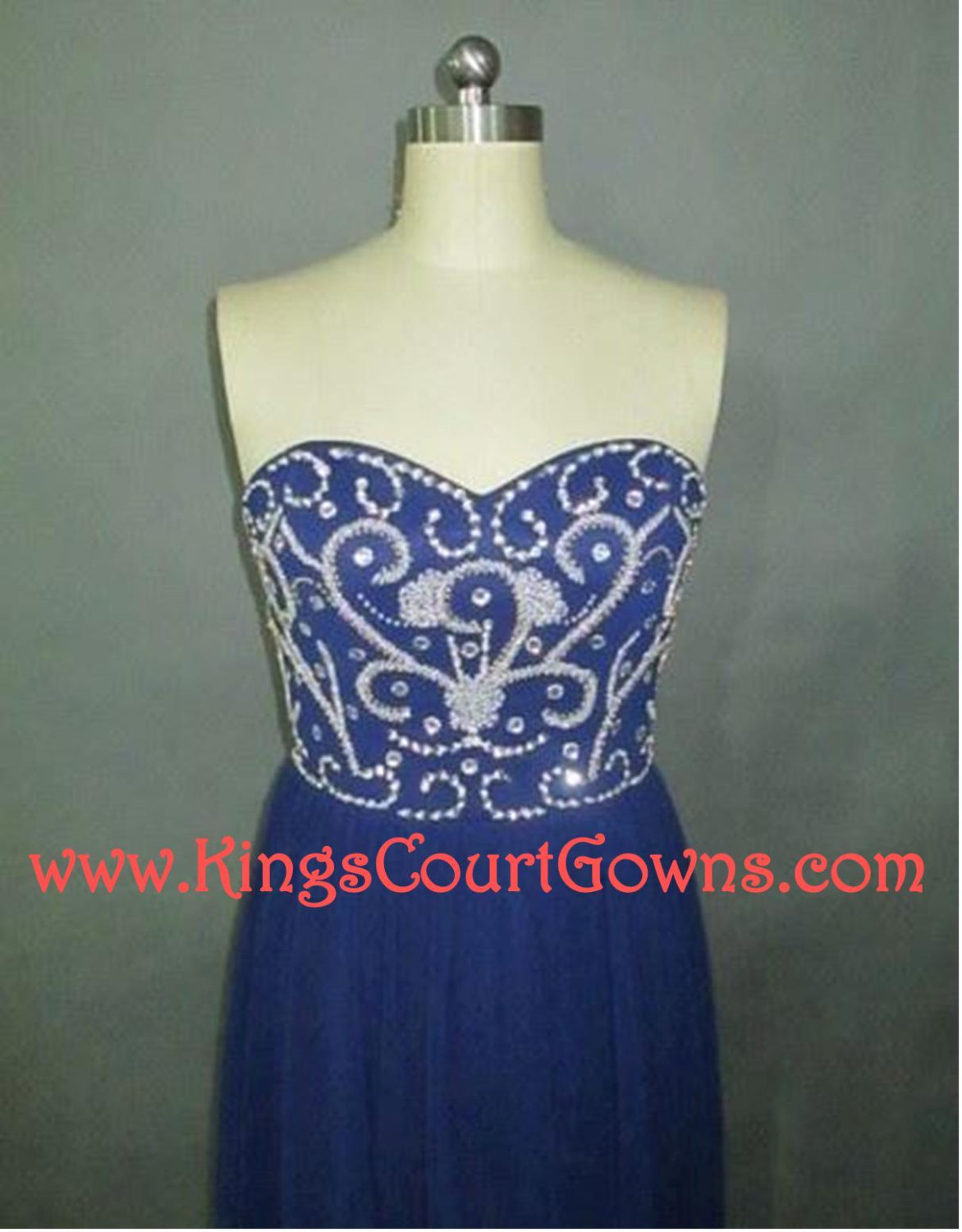 Replica beaded royal blue navy strapless chiffon prom evening pageant dress gown