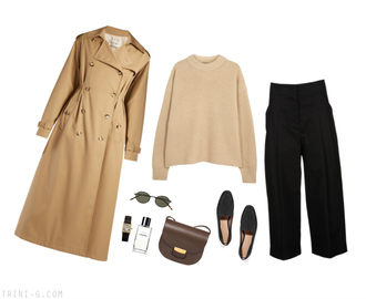 trini blogger coat sweater pants shoes bag tank top jewels sunglasses skirt trench coat beige sweater loafers shoulder bag