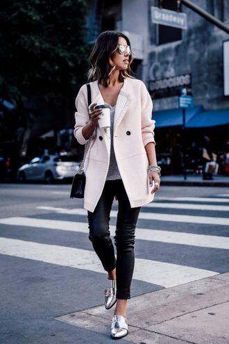 shoes sunglasses baby pink coat black pants black handbag blogger silver oxford shoes