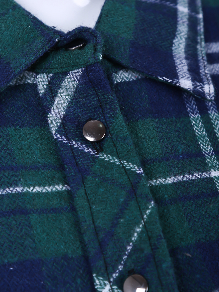 Green and Blue Plaid Print Long Sleeve Blouse - Sheinside.com