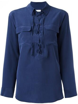 blouse women lace blue silk top