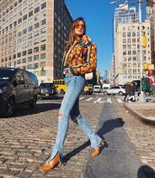 shoes,brown leather boots,ripped jeans,multicolor,jacket,streetstyle