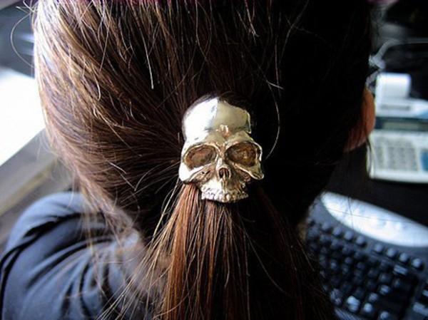 hair accessory skull gold elastic hair tie