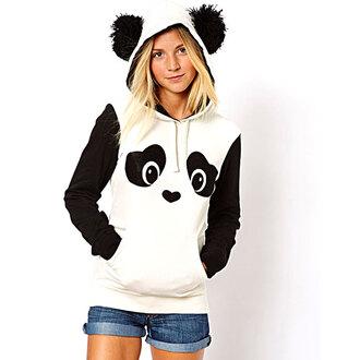 shirt sweatshirt cute cartoon sweater black white panda jumpsuit trendy fresh style ear shape hooded panda print fleece pullover hoodie for women kawaii long sleeves rg girly girl girly wishlist