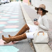 life & messy hair,blogger,jeans,sweater,jewels,shoes,hat,bag,felt hat,handbag,over the knee boots,brown boots,louis vuitton bag