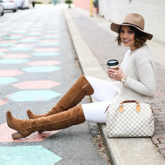 life & messy hair blogger jeans sweater jewels shoes hat bag felt hat handbag over the knee boots brown boots louis vuitton bag
