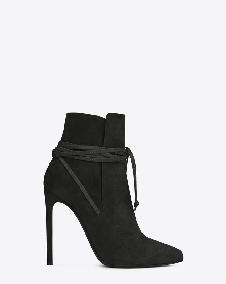 Saint Laurent Paris Laced 110 Ankle Boot In Black Suede - ysl.com