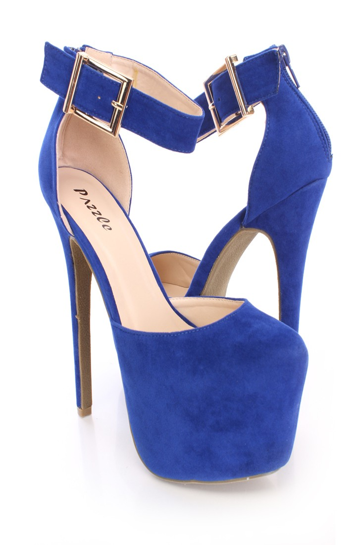 Royal Blue Platform High Heels Faux Suede