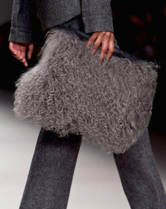 bag purse fur accessories fashion week 2015 fluffy texture