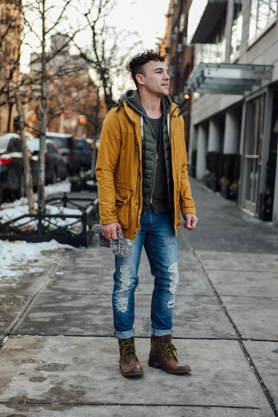 scout sixteen menswear blogger parka mustard mens jeans spring jacket mens parka mens ripped jeans