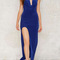Blue draped v neck side slit sexy dress