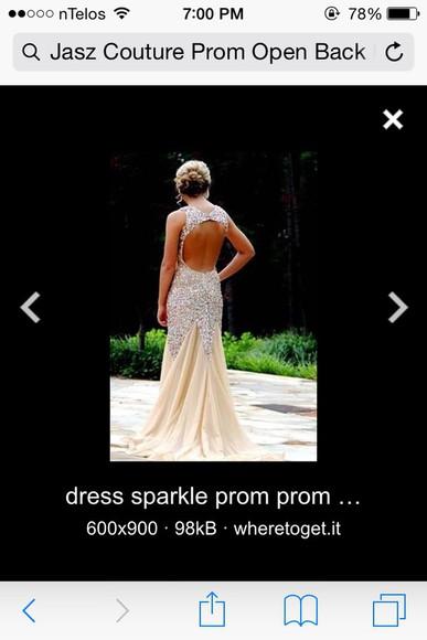 nude dress sequin dress open back prom dress