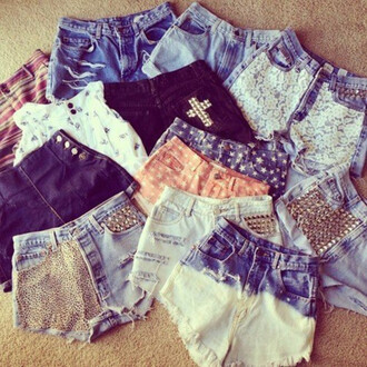 shorts highwaisted high waisted ombre shorts spring summer studded semi-faded