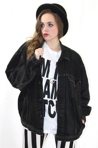 jacket black oversized denim vintage