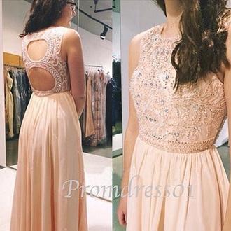 dress pink dress cut-out dress prom dress long prom dress