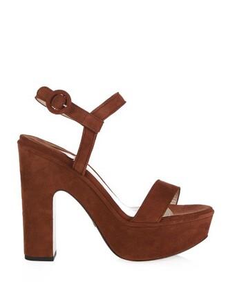 sandals platform sandals suede tan shoes