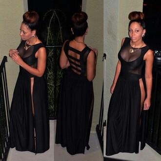 dress robes sexy dress slit dress skirt maxi dress black backless backless prom dress