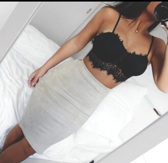 top nude crop tops beautiful beige bra black lace bodycon skirt sexy lace bralette lace bra crop midi skirt knee length skirt black lace