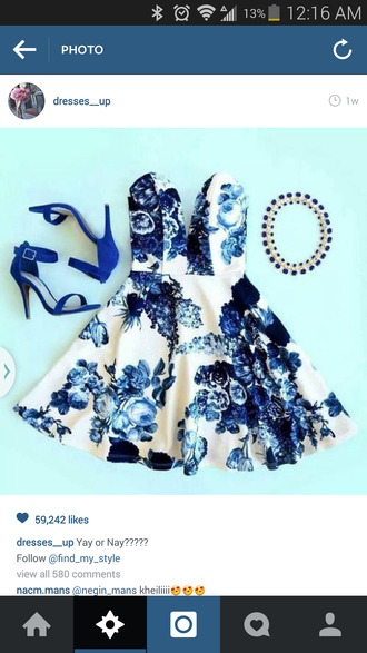 blue dress white dress floral dress classy dress blue and white floral sweetheart dress skater dress