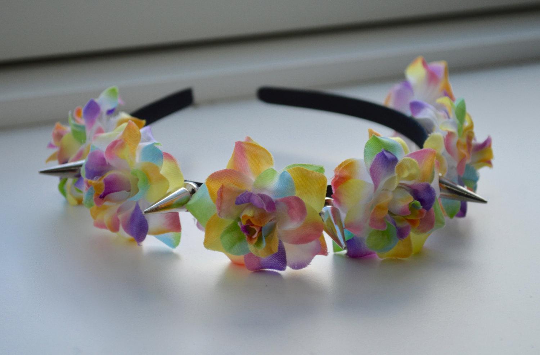 Rainbow Flower Crown Metal Spikes Hair Band Unicorn Magic