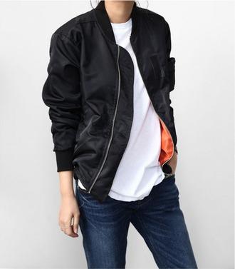 jacket black zip orange jeans blue jeans white tee t-shirt white blue
