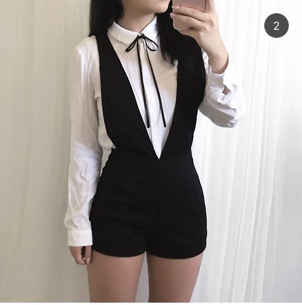 Shorts Kpop Overalls Korean Fashion Trendy Fashion Black And White Style Wheretoget