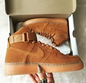 shoes,nike,air force 1s,tan,tan shoes,customized,leather,nike air,nike shoes