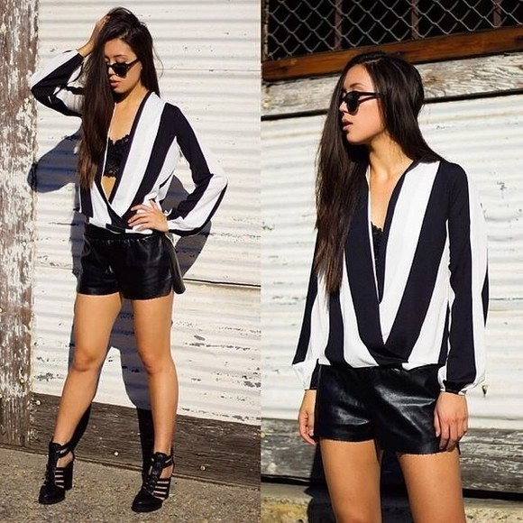black and white blouse blouse stiped top wrap blouse striped blouse