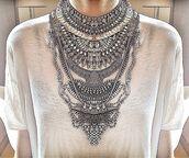 jewels,necklace,silver,statement necklace,chain,crystal,swarovski,swarovski necklace,handmade,boho chic,jewelry,choker necklace