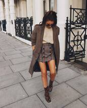 shoes,boots,ankle boots,snake print ankle boots,mini skirt,wool,plaid skirt,sweater,coat,wool coat,sunglasses