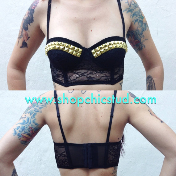 Studded bustier longline bra crop top black lace  by shopchicstud