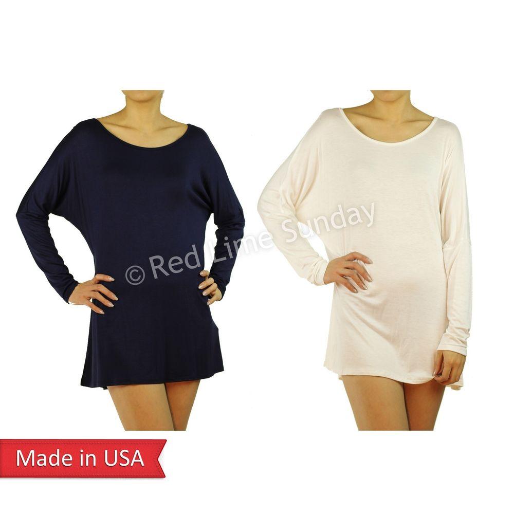 USA HOT Women Comfy Batwing Dolman Long Sleeve Boat Neck Tunic Shirt Top Dress