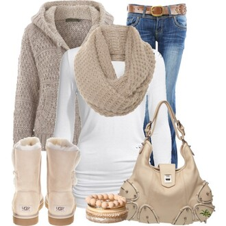 cardigan white t-shirt white top white longsleeved longsleeved shirt scarf beige scarf beige beige handbag beige bag bag shoulder bag brige shoes uggs beige uggs beige cardigan jacket beige jacket braclets beige braclets jeans denim denim jeans bootleg bootleg jeans belt brown belt