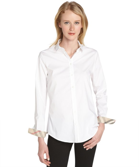 Burberry Burberry Brit white stretch cotton poplin shirt | BLUEFLY up to 70% off designer brands