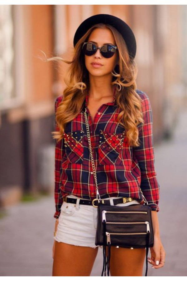 top plaid shirt plaid pattern essential gold studs gold red brooklyn navy red and navy red plaid tumblr girl tumblr shirt fashion