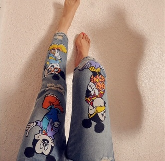 jeans skinny jeans mickey mouse