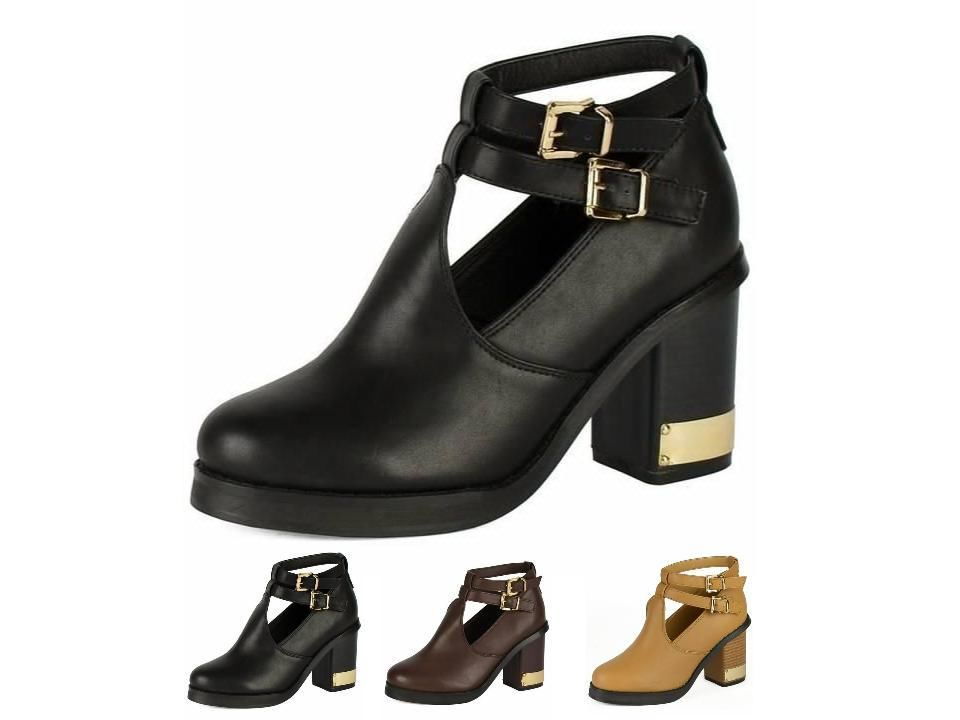 WOMENS BLOCK HEEL CELSEA ANKLE BOOTS CUT OUT THICK SOLE SHOES AUTUMN LADIES
