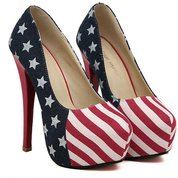 stars blue high heels united states flag red white stripes