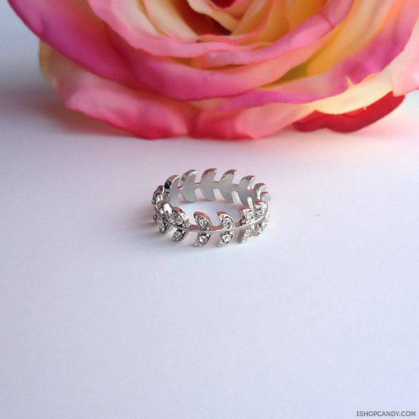 Laurel silver midi ring