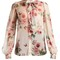 Rose-print tie-neck chiffon blouse