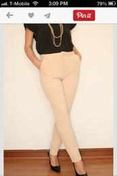 pants,dress pants,high waisted pants,beige,high waisted