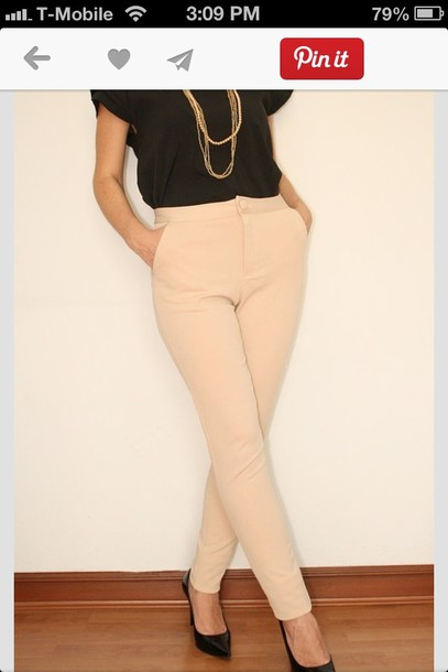 pants dress pants high waisted pants beige high waisted