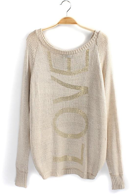 Golden LOVE Print Bright Wire Cotton Blend Pullover