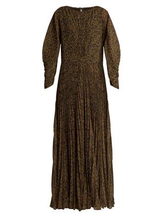 gown chiffon pleated print black dress