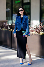 fit fab fun mom,blogger,bag,sunglasses,jewels,denim jacket,black dress,long dress,clutch,round sunglasses,blue heels